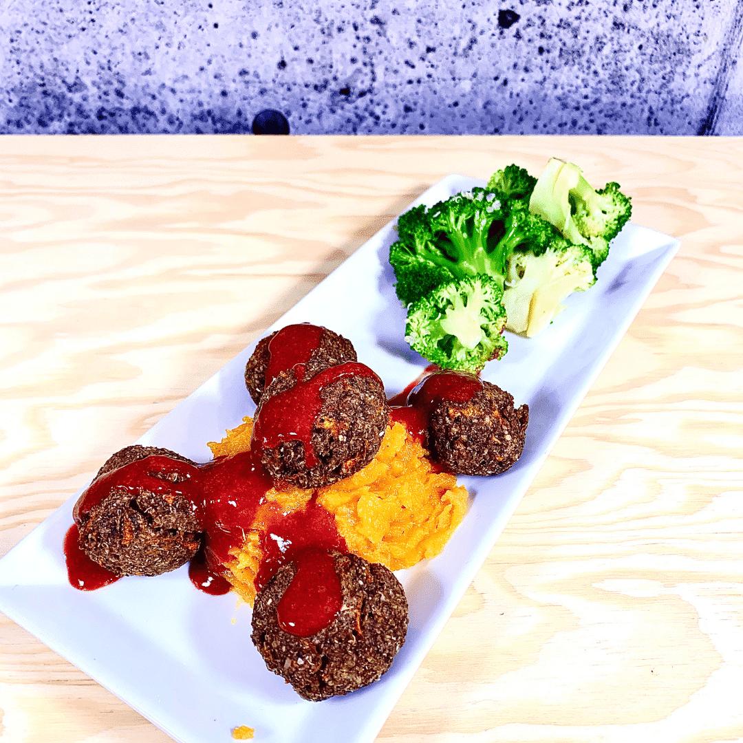 Commandez repas santé prêt à manger boulettes végétaliennes suédoise