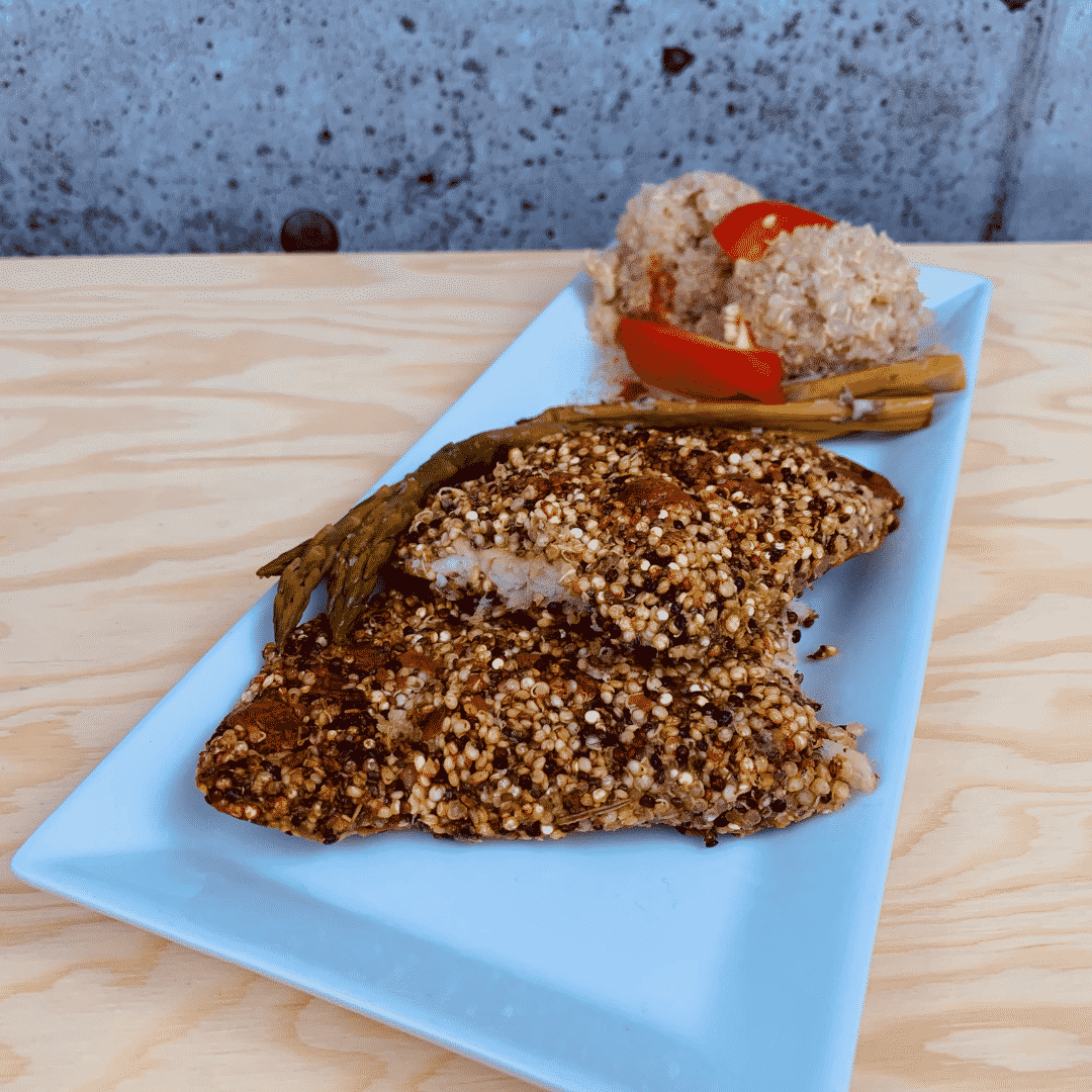 Commandez repas santé prêt à manger morue en croute de quinoa