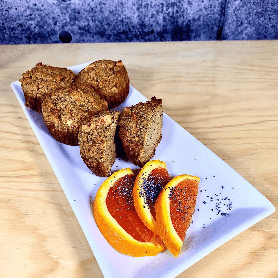 Collation santé muffins à l'orange, sans lactose et sans gluten